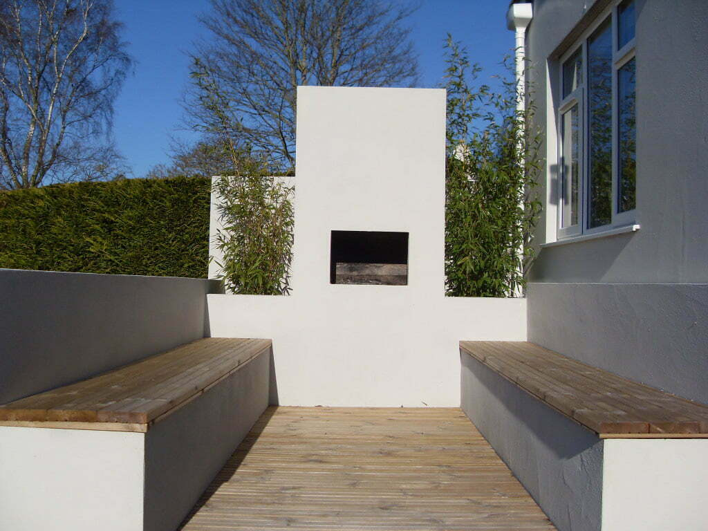 Chiminea and seating area