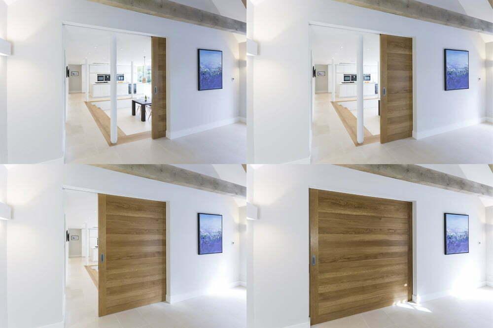 """Large solid oak sliding """"pocket"""" door"""