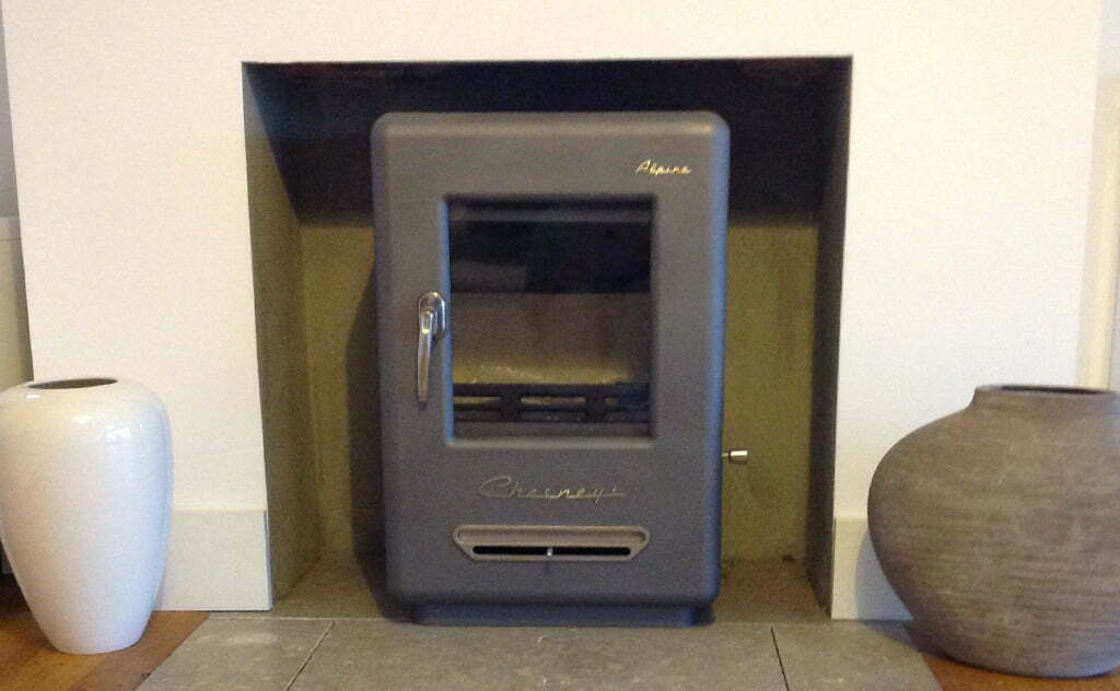 Woodburner with natural stone hearth